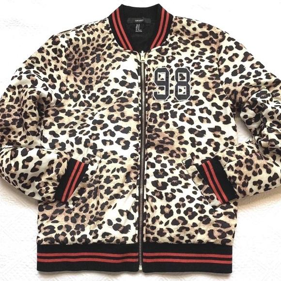 eabd9e0835d Forever 21 Jackets   Blazers - Leopard Print Track Jacket Medium Full Zip  Pockets